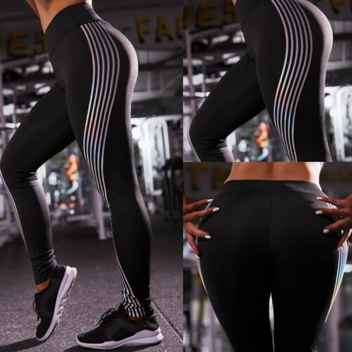 Women Push Up Yoga Pants Reflective Gym Sports Leggings Running Workout Trousers