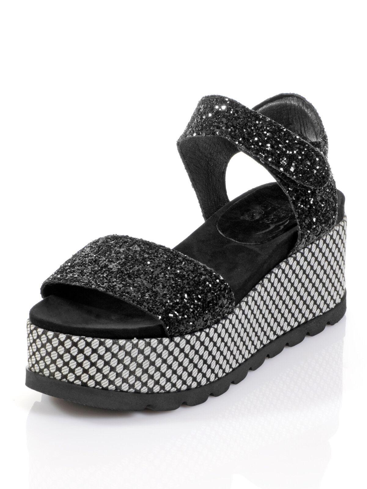 Marken Sandaleetten schwarz in Glitter-Optik  Gr. 37 0518385456