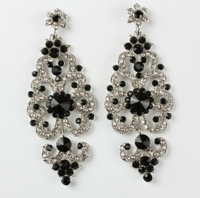 LONG CHANDELIER CRYSTAL DIAMANTE DANGLING DROP EARRINGS *LOTS OF COLOURS*