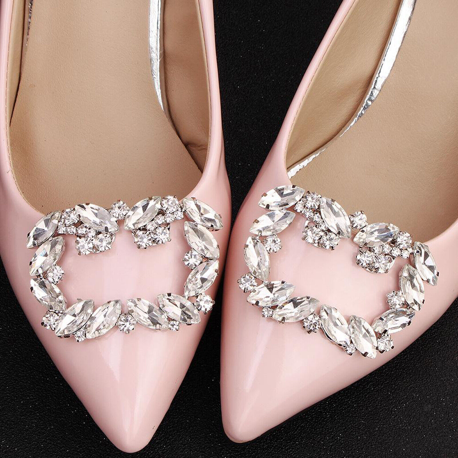 Pair Crystal Shoe Clips Patch Charm Tone Buckle Wedding Bridal Party Decoration
