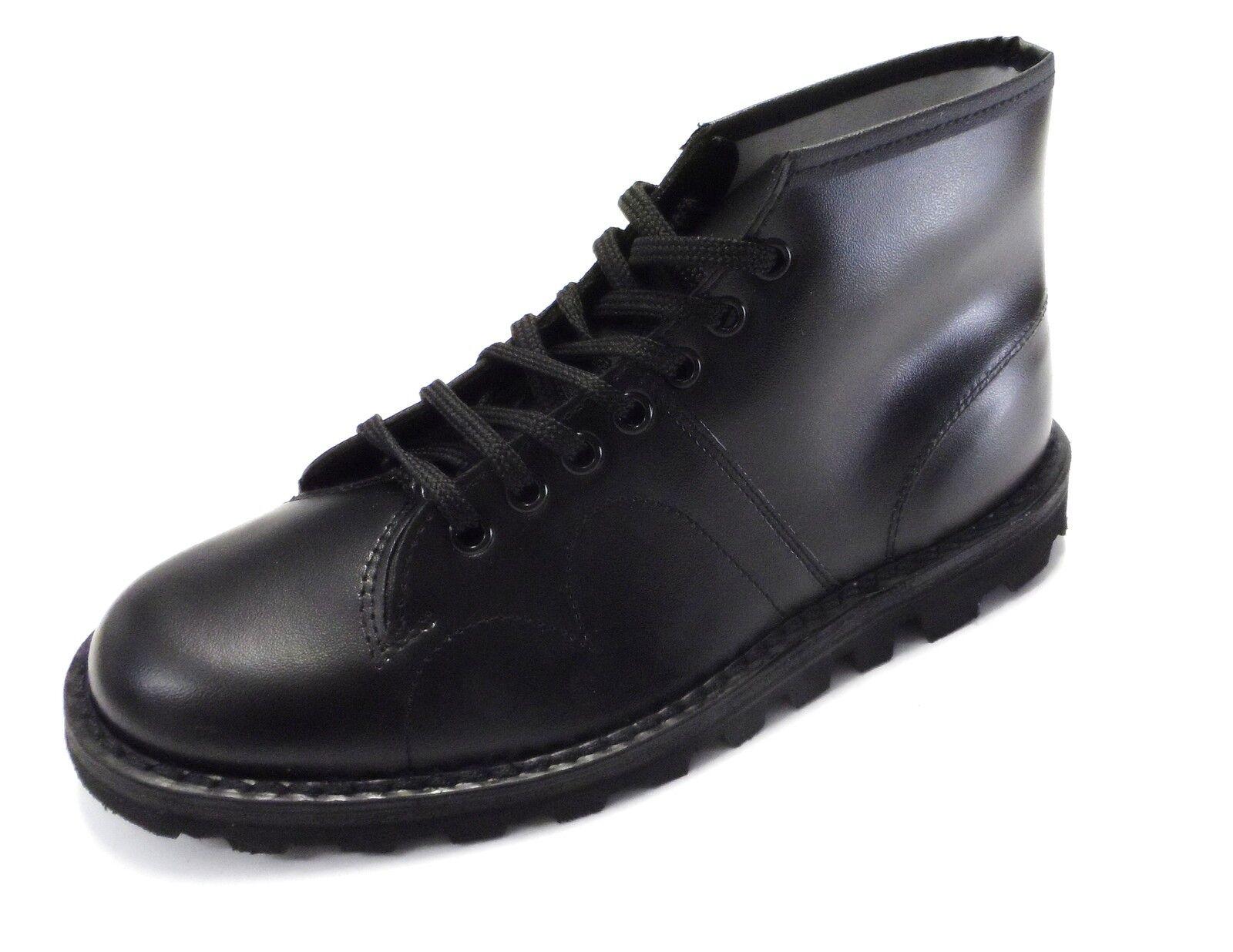 Original 1970's Jahre Style Schwarzes Schwarzes Schwarzes Leder Affe Stiefel 983d42