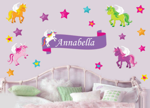 Wall Art Stickers Murals Decals Personalised Colourful Unicorns with Stars