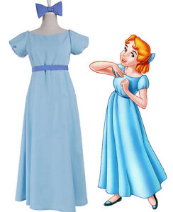 Image is loading Peter-pan-Wendy-Darling-Blue-Long-Dress-Cosplay-  sc 1 st  eBay & Peter pan Wendy Darling Blue Long Dress Cosplay Costume Women Girls ...