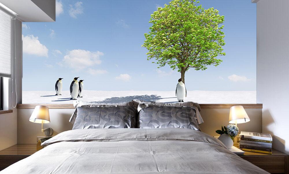 Papel Pintado Mural De Vellón Pingüino Arboles Cielo 3 Paisaje Fondo De Pansize