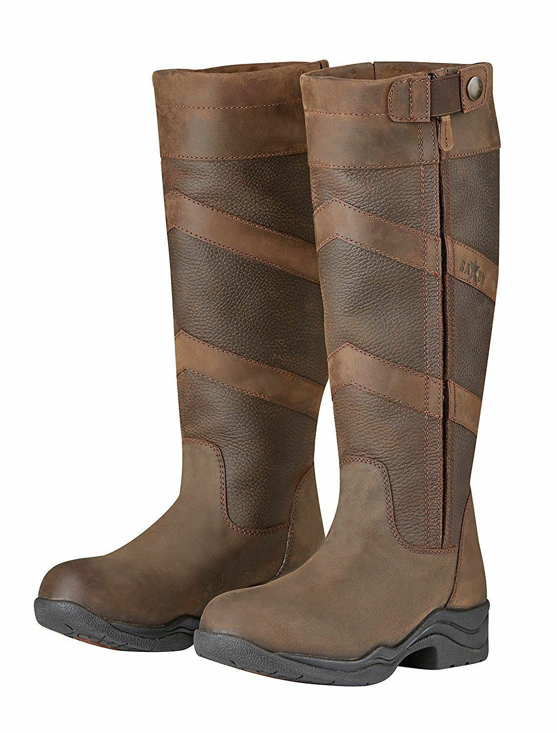 Saxon Lewes Waterproof Leather Country Boots with Full Length Zip