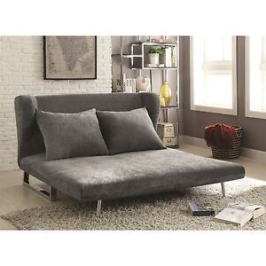 Image Is Loading PERFECT FOR DORM ROOM GRAY VELVET QUEEN SOFA  Part 95