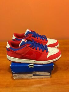 new style b64ee 68bb5 Image is loading Nike-SB-Dunk-Low-Red-Royal-Blue-White-