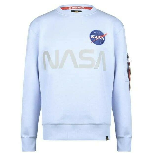 Alpha Industries Men's NASA Reflective Crew Sweatshirt Jumper Size 2XL XXL New ✅