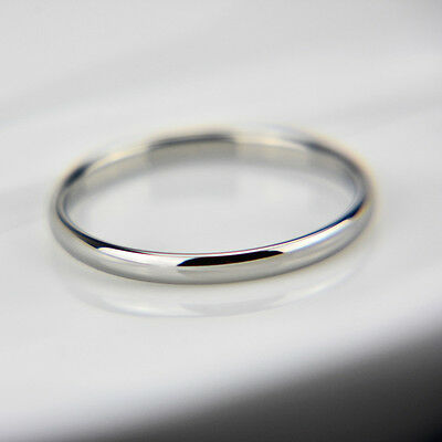 18K white gold plated plain classic 2mm thin engagement wedding ring size 7