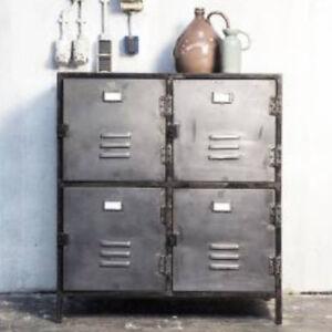 Kommode New Vintage 4 Turen Metall Vintage Silber Anthrazit