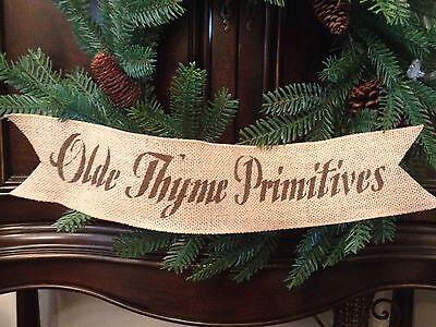 Primitive Olde Primitives Wired Burlap Ribbon Banner Ornament Garland Christmas
