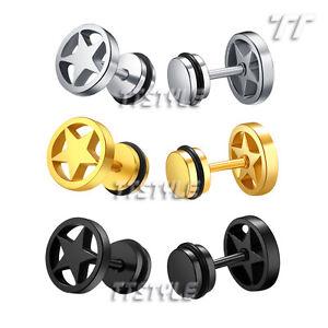 TTstyle 10mm Gold-Tone Surgical Steel White Fibre Fake Ear Plug Earrings