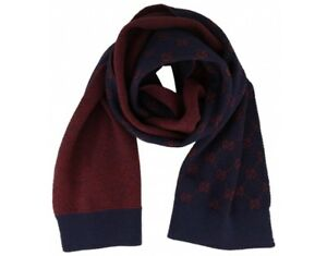 2471b83a71 Details about Gucci All over GG Alpaca Wool Navy Red Knit Scarf BNWT