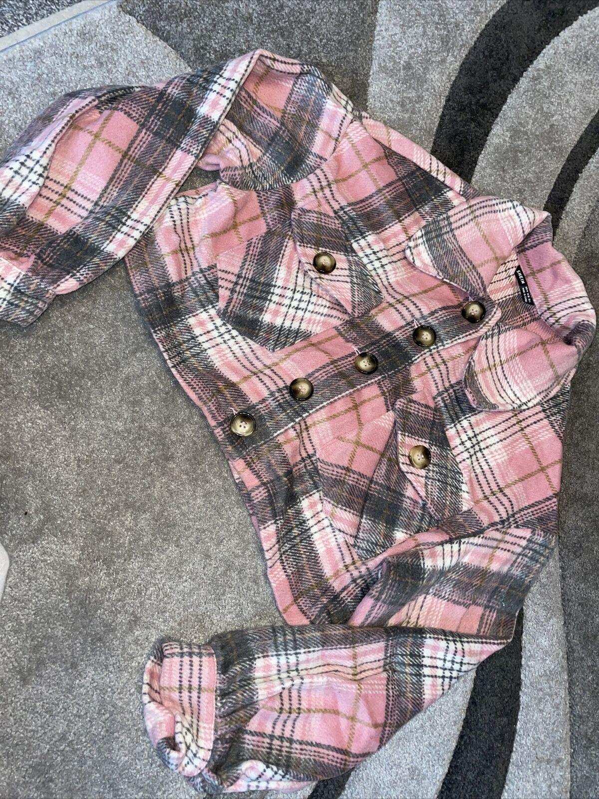 Shein Size Medium (8-10) Pink Checked Long Sleeve Crop Jacket