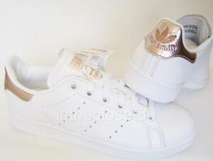 Chargement de l'image Adidas-Stan-Smith-White-Rose-Gold-Metallic-Womens-