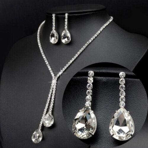 Boda de lujo gota de agua cristal aretes collar joyas conjunto