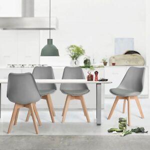 Ensemble-de-4-chaises-de-cuisine-en-bois-retro-Tulip-rembourre-Gris