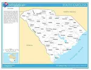 South Carolina State Counties w/Cities Laminated Wall Map | eBay