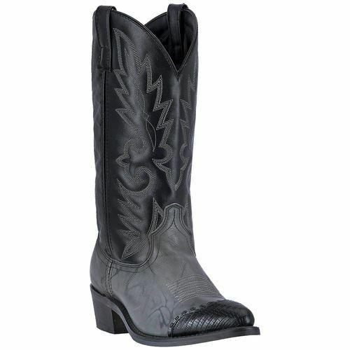 Larojoo hombre cuero botas de vaquero occidental estandarte gris Mármol Negro 6782