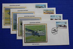 "Jersey (336-339) 1984 Aviation History Colorano ""Silk"" FDCs"