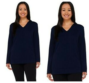 SUSAN GRAVER WEEKEND BLUE  COTTON COLORBLOCK HOODED TOP PULLOVER QVC Sz S NEW