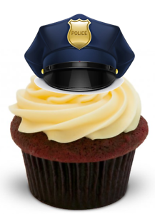 POLICEMAN/'S HAT Standups 12 Edible Standup Premium Wafer Cake Toppers