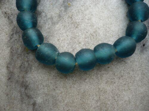 """Recycled Glass Beads Ghana Krobo Strang Altglasperlen 13 mm /""""Mali Blue/"""""""