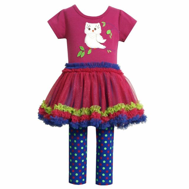 Bonnie Jean Girls 2T-4T Magenta Blue Owl Applique Tutu Dress Legging Set