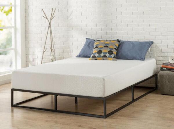 zinus olb mbbf 10q 10 platforma low profile mattress bed frame black queen size ebay. Black Bedroom Furniture Sets. Home Design Ideas