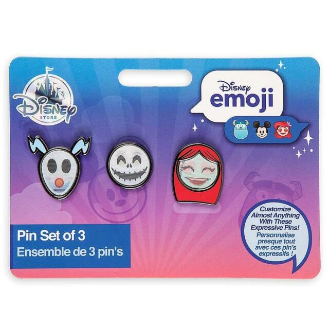 disney store authentic w receipt emoji pin set 3 nightmare before christmas jack