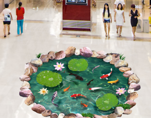 3D Stone Lotus Fish Pond 7 Floor WallPaper Murals Wall Print Decal AJ WALL CA