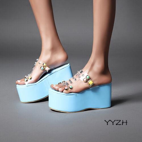 Femme Strass Talon Compensé Plateforme Pantoufle Confort Chaussures De Loisirs Sandales 34-48