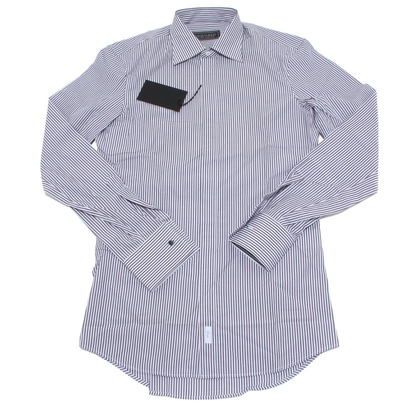 9626m Camicia Uomo DSQUARED Shirt Men GESSATA Bianco marrone 50  8ca9a46f1f1c