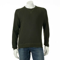 Haggar Men's Textured Crewneck Long Sleeves Tee Shirt Olive Green Msrp $45