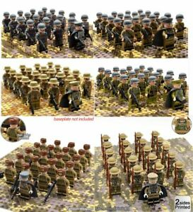 21pcs WW2 Minifigures Army Soldiers British Russia Japan US Military