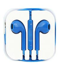 New Blue Colour Headphones Earphone Handsfree With Mic For iPhone Models