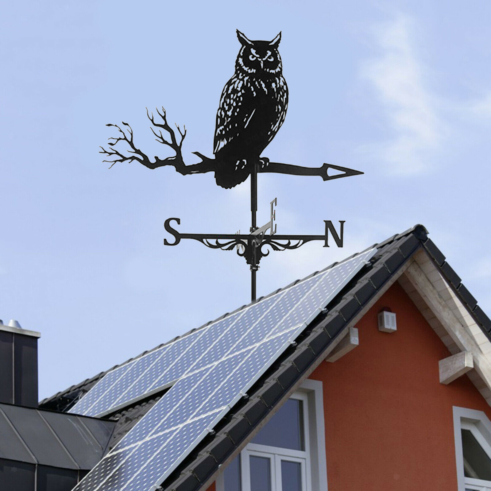 Retro Iron Owl Weathervane Weather Vane Wind Direction Indicator Ornament
