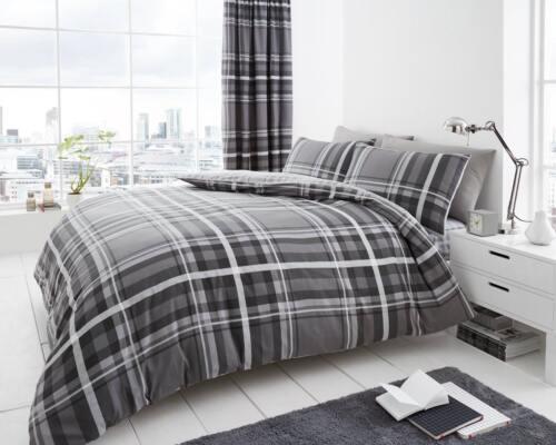 Newton Tartan Check Luxurious Modern Style Duvet Covers Reversible Bedding Sets