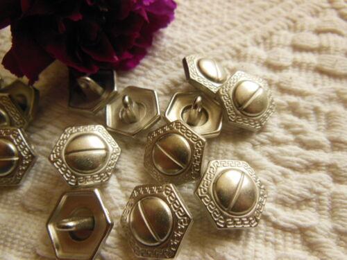 lot 12 boutons en métal argenté à pied style vis diamètre 1,2 cm