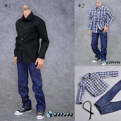 "U.S.A SELLER 1//6 Men Blue Plaid Long Sleeves Shirt Jeans Set For 12/"" Hot Toys"