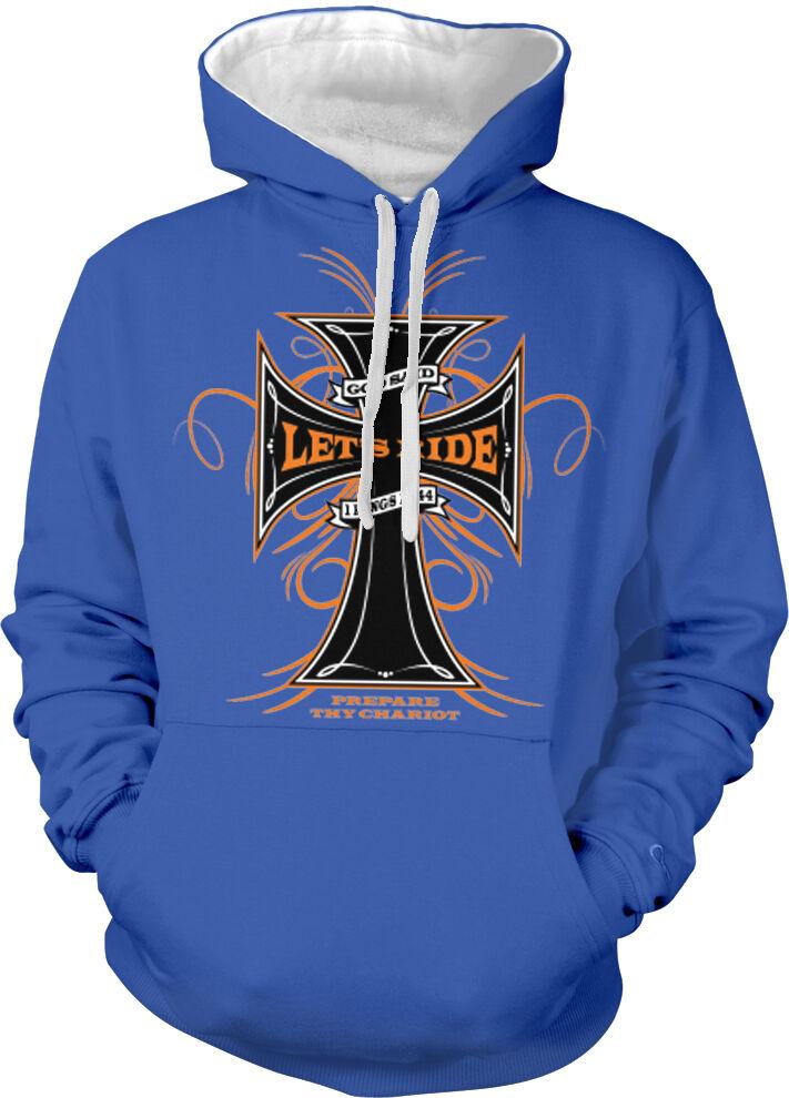 God Said Let's Ride Cross Kings Bible Verse Prepare Two Tone Hoodie Sweatshirt