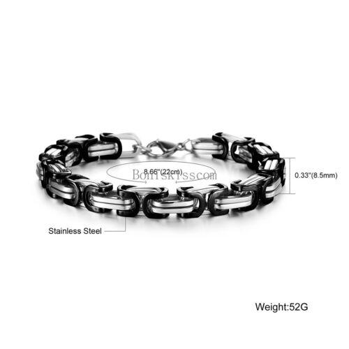 Silver Gold Black Tone Square Byzantine Stainless Steel Bracelet Mens Boys Chain