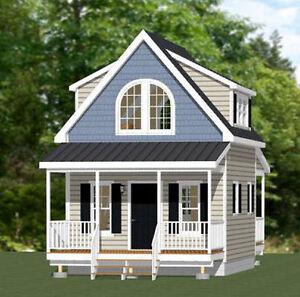 Details about 16x20 Tiny House -- 574 sq ft -- PDF Floor Plan -- Model 4C