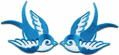 Pair Of Aqua Blue Swallows Rockabilly Kitsch Embroidered Iron On Applique Patch
