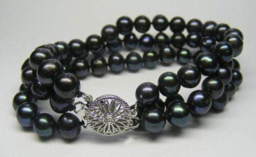 "Nouveau 3 rangées 7-8 mm Black Akoya Cultured Pearl Bracelet 7.5/"" AAA"