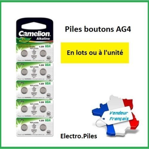 PROMO PRIX CASSE !! Piles boutons AG 4 /LR66 /LR626/377 Camélion