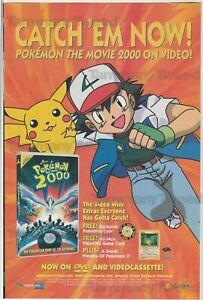 Pokemon The Movie 2000 Dvd Vhs Ash Pikachu Vintage Print Ad