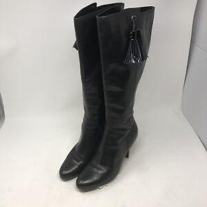 f54edc399545 Cole Haan NikeAir Black Leather Zip Up Knee High Heels Boots SZ 8.5 ...