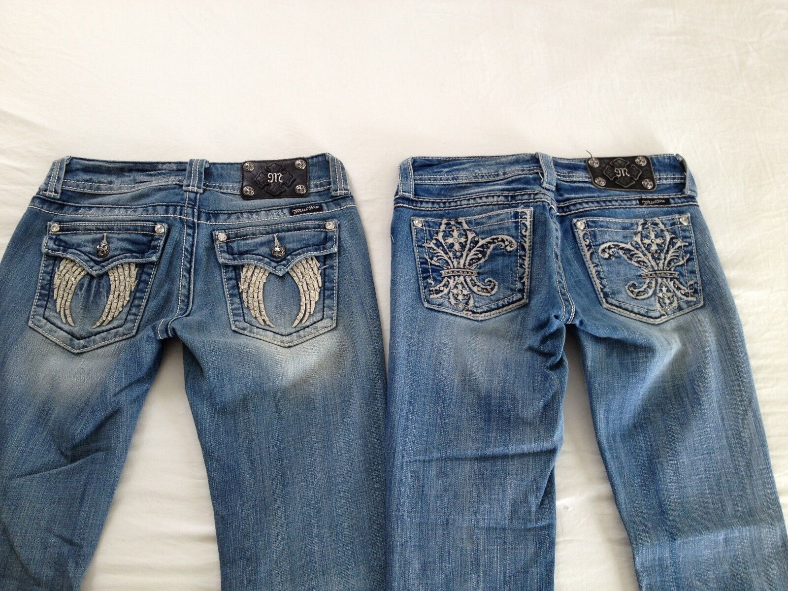 Miss Me Women's Cropped & Boot Cut Studded Distressed Jeans Size 26 L30 2 Pair