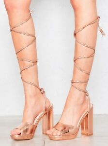 d9256caac1 Image is loading Truffle-Collection-Gold-Wrap-Around-Heels-Sandals-Rose-